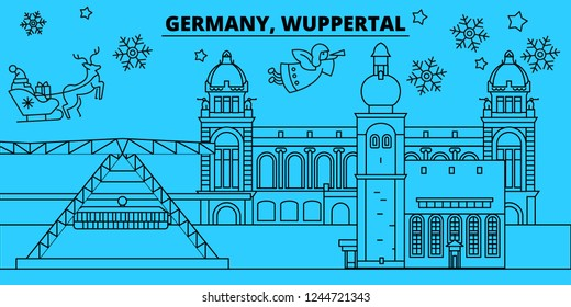 Germany, Wuppertal winter holidays skyline. Merry Christmas, Happy New Year decorated banner with Santa Claus.Germany, Wuppertal linear christmas city vector flat illustration