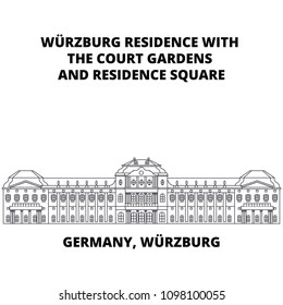 Germany, Wurzburg Residence line icon concept. Germany, Wurzburg Residence linear vector sign, symbol, illustration.