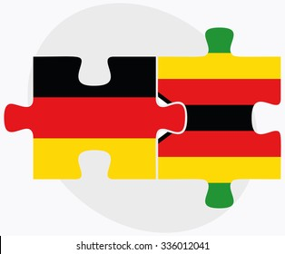 Germany and Zimbabwe Flags in puzzle isolated on white background
