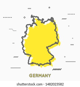 Germany,Deutschland map in thin line style with small geometric figures. Vector illustration modern concept
