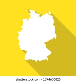 Germany,Deutschland white map,border flat simple style with long shadow on yellow background.