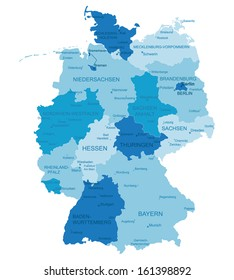 Germany-highly detailed map.All elements are separated in editable layers clearly labeled. Vector