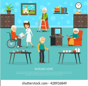 Gerontology nursing flat poster with personal skilled assistant aid  in old people home flat poster abstract vector illustration