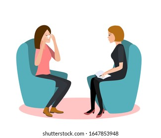 Gestalt psychotherapy session vector illustration. Woman psychologist and crying woman patient. Work with feelings and emotions, society psychiatry concept