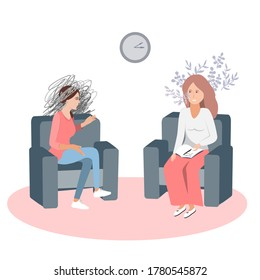 Gestalt psychotherapy session vector illustration. Woman psychologist and talking worried woman patient. Work with feelings and emotions, society psychiatry concept.