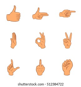 Gestural icons set. Cartoon illustration of 9 gestural vector icons for web