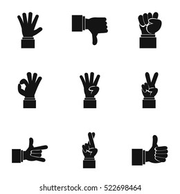 Gestural icons set. Simple illustration of 9 gestural vector icons for web