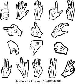 Gesture Cartoon Hand Signs Icon Symbols