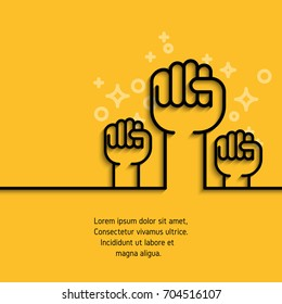 Gesture hand, fist raised simple line icon. Outline conceptual symbol of business, success, motivation, support concept. Stroke mono pictogram. Vector banner on yellow background