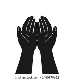 Gesture of hands folded in prayer. Hands cupped together isolated symbol on white background. Graphic icon. Vector illustration