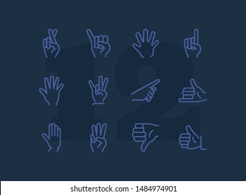 Gesture icon. Set of line icons on white background. Thumb up, open palm, direction. Hand sign concept. Vector illustration can be used for topics like communication, finger language, symbols