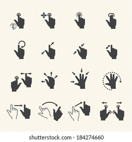 Gesture icons for touch devices. Vector icon