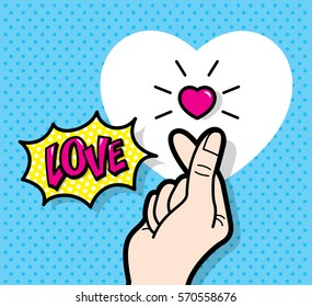 'Finger Heart' gesture, love symbol in pop art style