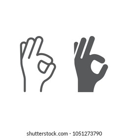 Gesture okay line and glyph icon, e commerce and marketing, best choice sign vector graphics, a linear pattern on a white background, eps 10.