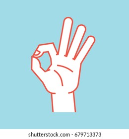 Gesture. Okay sign. Stylized hand with index and thumb making circle, other fingers up. Icon. Vector illustration on a blue background. Ok. Orange lines and white silhouette. Logo.