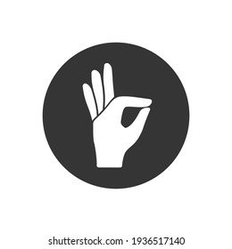 Gesture okay solid white icon. Ok hand gesture vector illustration isolated on white. Yes symbol glyph style design, designed for web