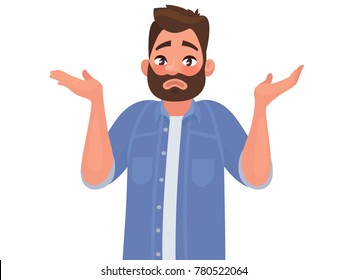 Gesture oops, sorry or I do not know. The man shrugs and spreads his hands. Vector illustration in cartoon style