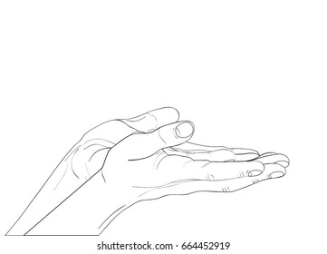Gesture open palms. Two Hand gives or receives. Contour graphic style. Black and white. Vector illustration on white background. Empty space for advertising