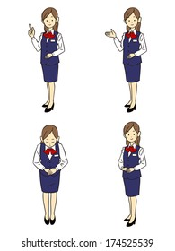 Gesture and pose of the four types of female employees uniform of dark blue