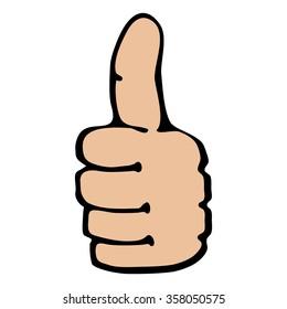 Gesture thumb. Cartoon.
