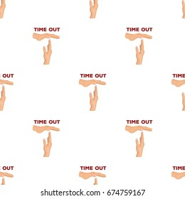 Gesture of a time out.Basketball pattern icon in cartoon style vector symbol stock illustration web.