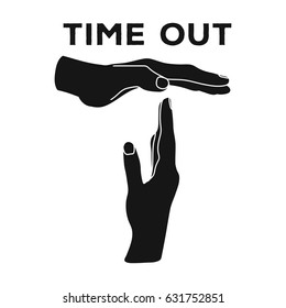 Gesture of a time out.Basketball single icon in black style vector symbol stock illustration web.