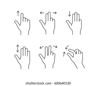 Gesture touch icons with arrows. Clean vector icons for a mobile application. User interface or manual gesture icon set