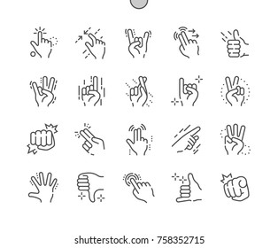 Gesture Well-crafted Pixel Perfect Vector Thin Line Icons 30 2x Grid for Web Graphics and Apps. Simple Minimal Pictogram