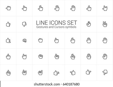Gestures and Cursors icons set