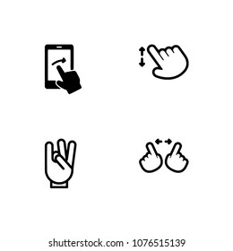 Gestures and emoticons icon set. EPS 10 vector format. Professional pixel perfect black & white icons optimized for both large and small resolutions. Transparent background.