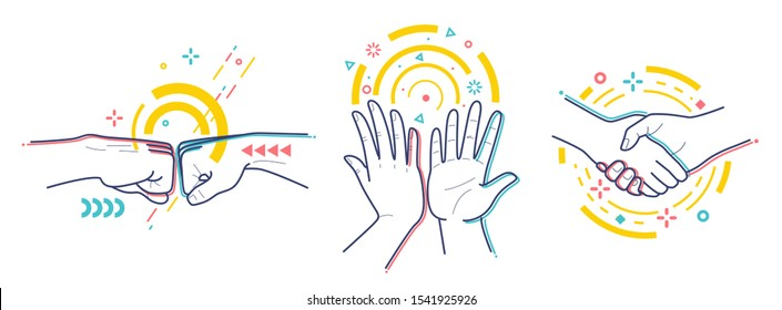 Gestures expressing successful activity. Isolated on white background. Flat / line style with colorful small geometric particles and dots. Set elements.