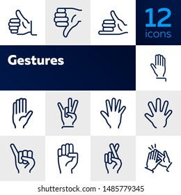 Gestures line icon set. Thumbs up, pointing, ok sign. Gesture concept. Vector illsutration can be used for topics like communication, gesture language, social