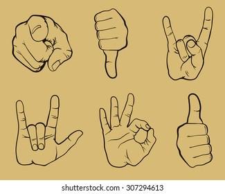 gestures set, vector, hands set,  gestures design