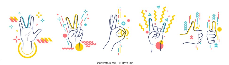 Gestures showing positive emotions: victory, recommendations, rock, greeting, approx. Flat / line style with colorful small geometric particles and dots. Set elements. - Shutterstock ID 1541926112