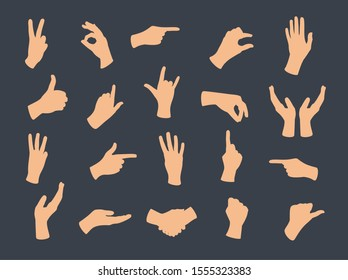 Gesturing hand set. Hand with counting gestures sign. Interactive communication set