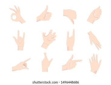 Gesturing hands. Hand with counting gestures, forefinger sign. Open arm showing signal and handshake. Vector design elements for infographic, web, internet, presentation.