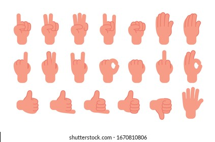 Gesturing hands. Hand with counting gestures, forefinger sign. Open arm showing signal and handshake. Flat style vector illustration isolated on white background.