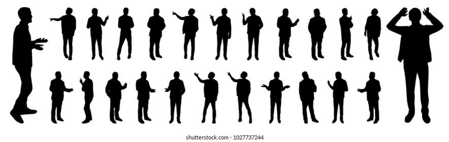 Gesturing man silhouetes