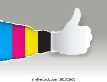 Gesturing paper hand with print colors. Paper silhouette Gesturing  thumbs up with print colors. Concept for presenting of color printing. Vector illustration.