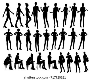 Gesturing woman silhouettes