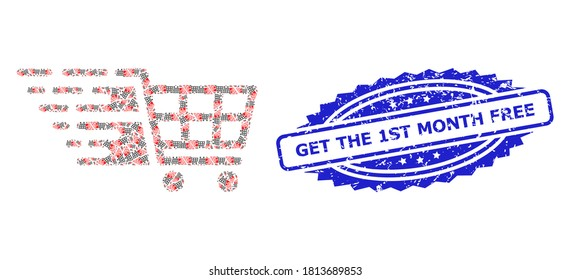 Get the 1St Month Free rubber stamp seal and vector recursive mosaic supermarket cart. Blue stamp includes Get the 1St Month Free text inside rosette.