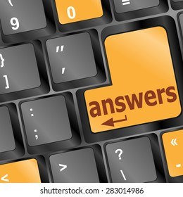 get answers concept on the modern keyboard keys, vector