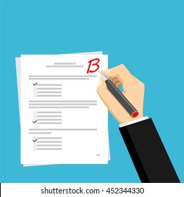 Get B for the exam. Checking in the answer of final exam concept. Score of test concept illustration.