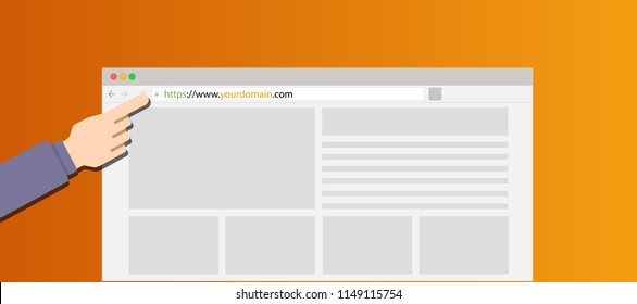 Get best domain name or website to grow your business, vector illustration brower with landing page website, hand and modern orange background
