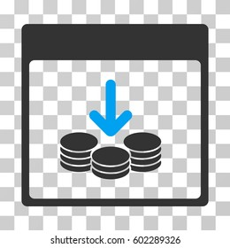 Get Coins Calendar Page icon. Vector illustration style is flat iconic bicolor symbol, blue and gray colors, transparent background. Designed for web and software interfaces.