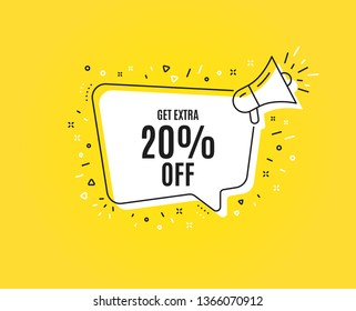 Get Extra 20% off Sale. Megaphone banner. Discount offer price sign. Special offer symbol. Save 20 percentages. Loudspeaker with speech bubble. Extra discount sign. Vector