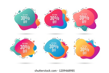 Get Extra 30% off Sale. Discount offer price sign. Special offer symbol. Save 30 percentages. Abstract dynamic shapes with icons. Gradient banners. Liquid  abstract shapes. Vector