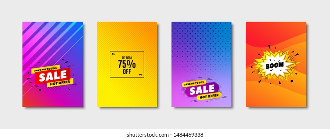 Get Extra 75% off Sale. Cover design, banner badge. Discount offer price sign. Special offer symbol. Save 75 percentages. Poster template. Sale, hot offer discount. Flyer or cover background. Vector