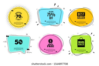 Get Extra 75% off Sale. Best seller, quote text. Discount offer price sign. Special offer symbol. Save 75 percentages. Quotation bubble. Banner badge, texting quote boxes. Extra discount text. Vector