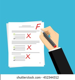Get F for the exam. Checking in the answer of final exam concept. Score of test concept illustration.